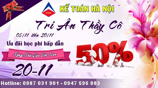 Ưu đãi lên tới 50% học phí tháng 11 của trung tâm kế toán Hà Nội