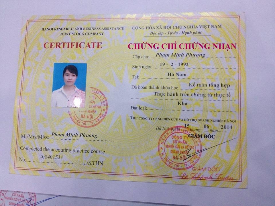 Lớp học chứng chỉ kế toán tại Bắc Ninh