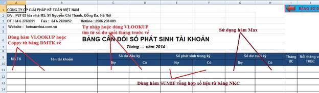 Hướng dẫn lập bảng cân đối phát sinh tháng trên Excel