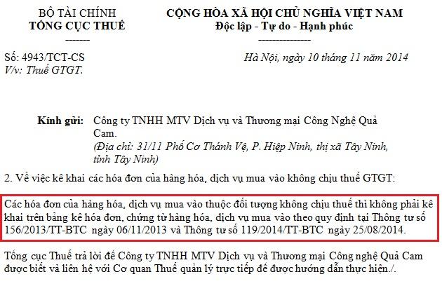 hoa don khong chiu thue co phai ke khai